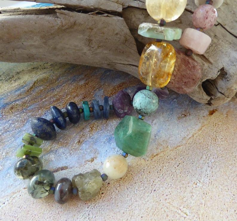 Gemstone necklace Multicolor Eclectic necklace Multi stone necklace 30 Rock necklace Rock necklace