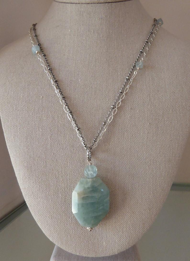March Birthstone, Large Aquamarine Rustic Pendant Aquamarine Pendant