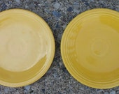 Vintage Old Fiesta Yellow Two 6-1 4 39 Plates Saucer Homer Laughlin Fiestaware