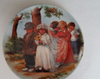 Here Comes The Bride Collectors Plate Edwin M. Knowles Company Jeanne Down 1985, Vintage Collectible Knowles Plate