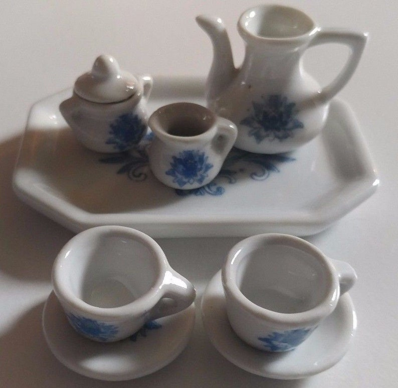 Miniatur Keramik Porzellan Blau Floral 9 Teiliges Teeservice Etsy