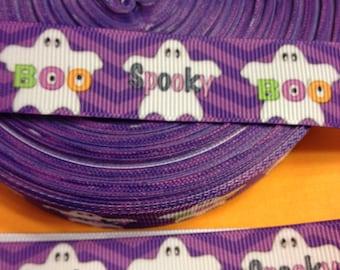 """Halloween ghosts grosgrain ribbon, 7/8"""" wide, 5 yards"""