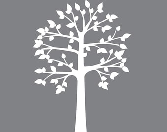 White Shelf Tree Decal Wall Sticker Shelving Nursery Children Narrow C80