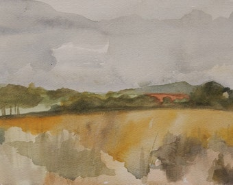 """Original Watercolor. 7"""" x 10.25"""". Small Works. Works on Paper. Abstract Winter Landscape - the Gers, in Southwestern France."""