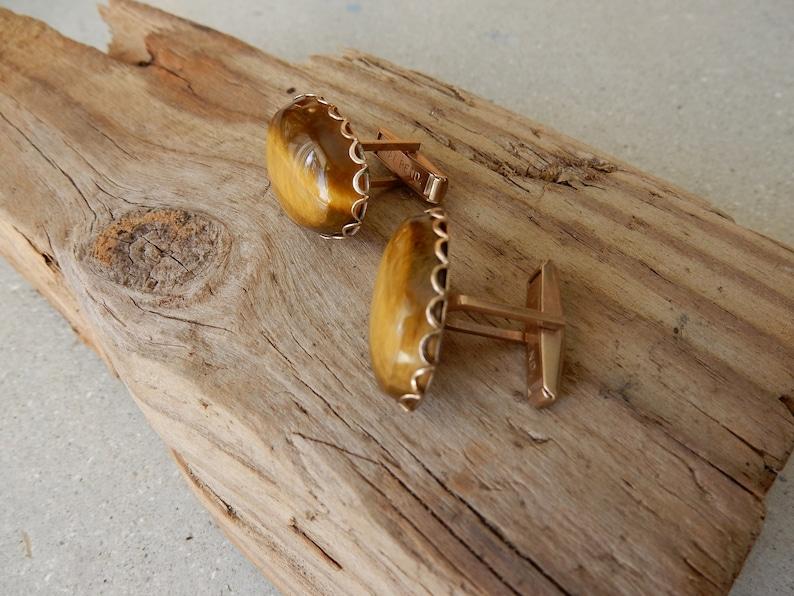 Tiger Eye Cuff Links FREE SHIPPING. Oval Jewelry Semi Precious Cufflinks