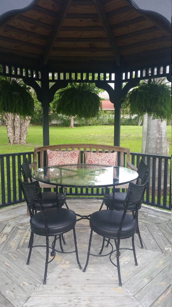 Vintage Faux Bamboo Dinette Set. Black Indoor/Outdoor Table and Four  Chairs. Original 1970\'s Patio Set.