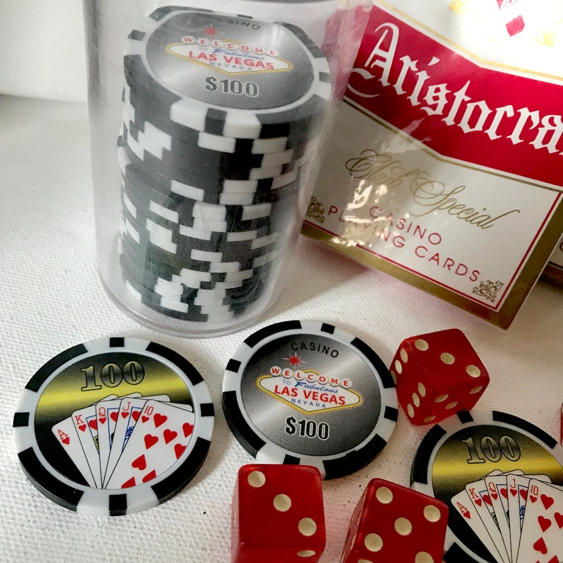 Vintage Casino playing cards FLASH SALE dice and pocket chip set man cave  game night gift under 20 party decor and party table top decor