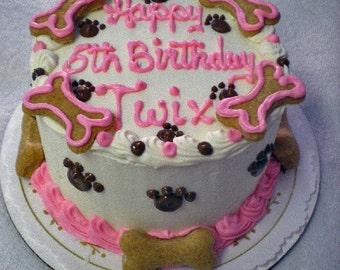 "Dog Birthday Cake (4"") Peanut Butter or Carob-Fudge (Serves about 4) -"