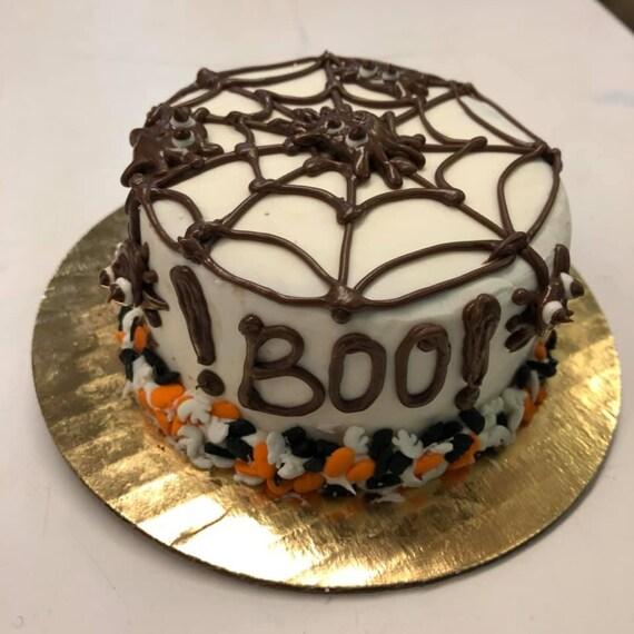 Dog Cake Spider Web Design For Halloween 6 Round