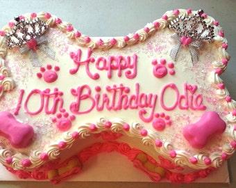 """Princess Style Dog Cake - Large - 9""""x5""""  Bone-Shape (Serves about 12)"""