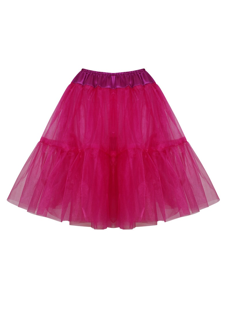 Bridal Retro Vintage Rockabilly 50/'s style Gorgeous Fuschia 22 inch 2 tier 4 layer Satin /& Organza petticoat