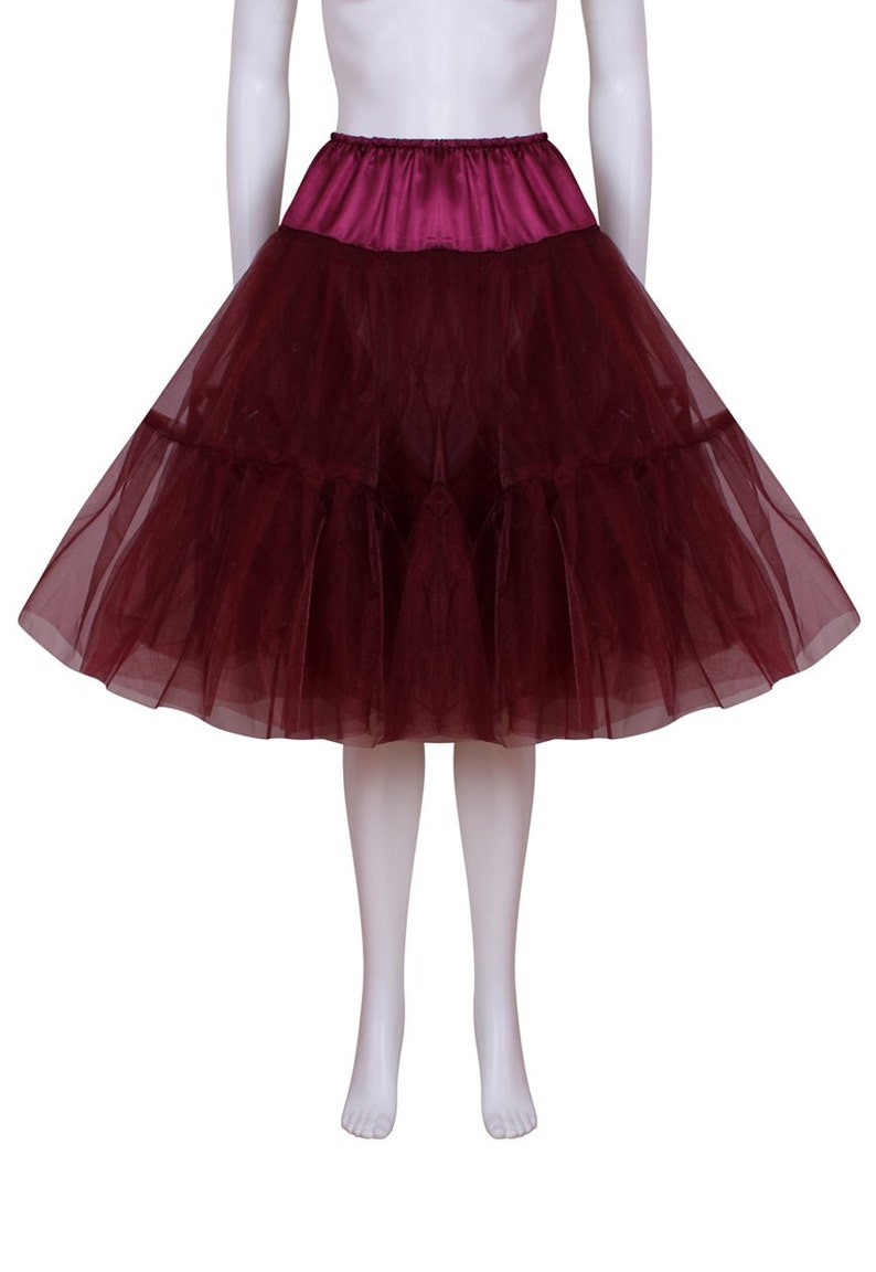 Gorgeous Burgundy 24 inch 2 tier 2 layer Satin /& Organza petticoat Bridal Retro Vintage Rockabilly 50/'s style