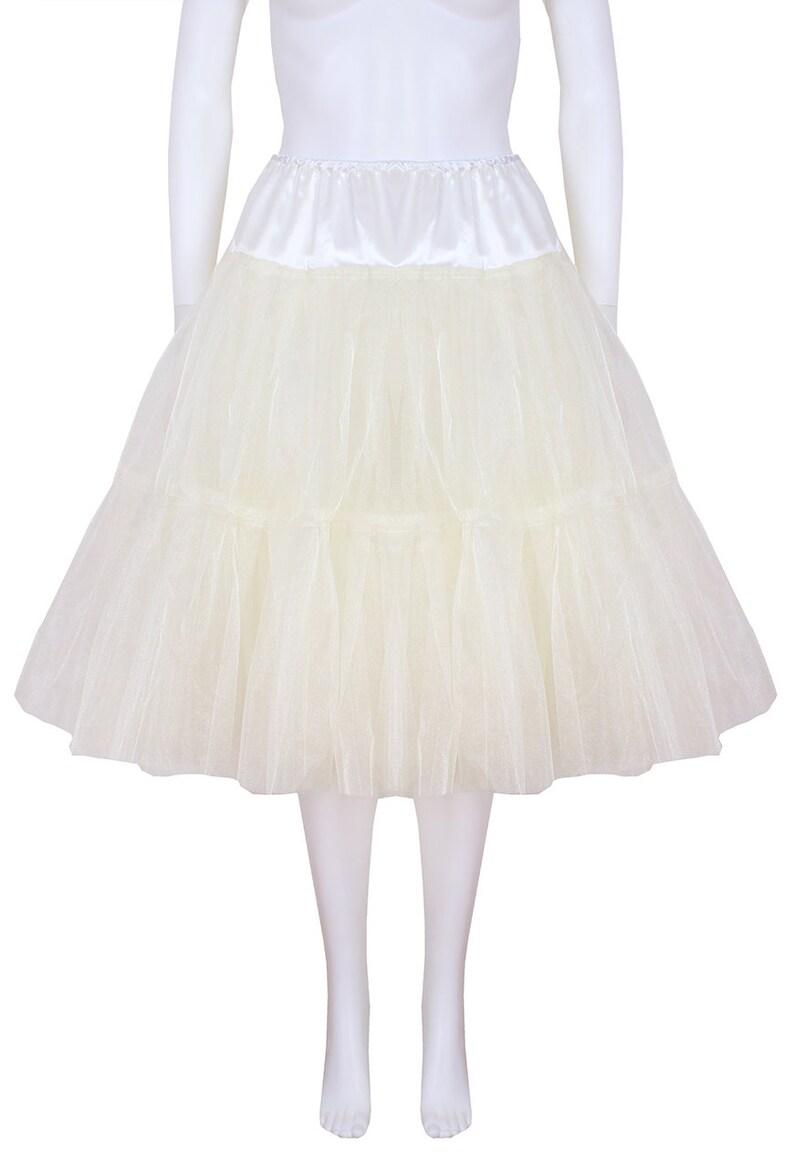 Bridal Retro Vintage Rockabilly 50/'s style Gorgeous  Ivory 22 inch 2 tier 4 layer Satin /& Organza petticoat