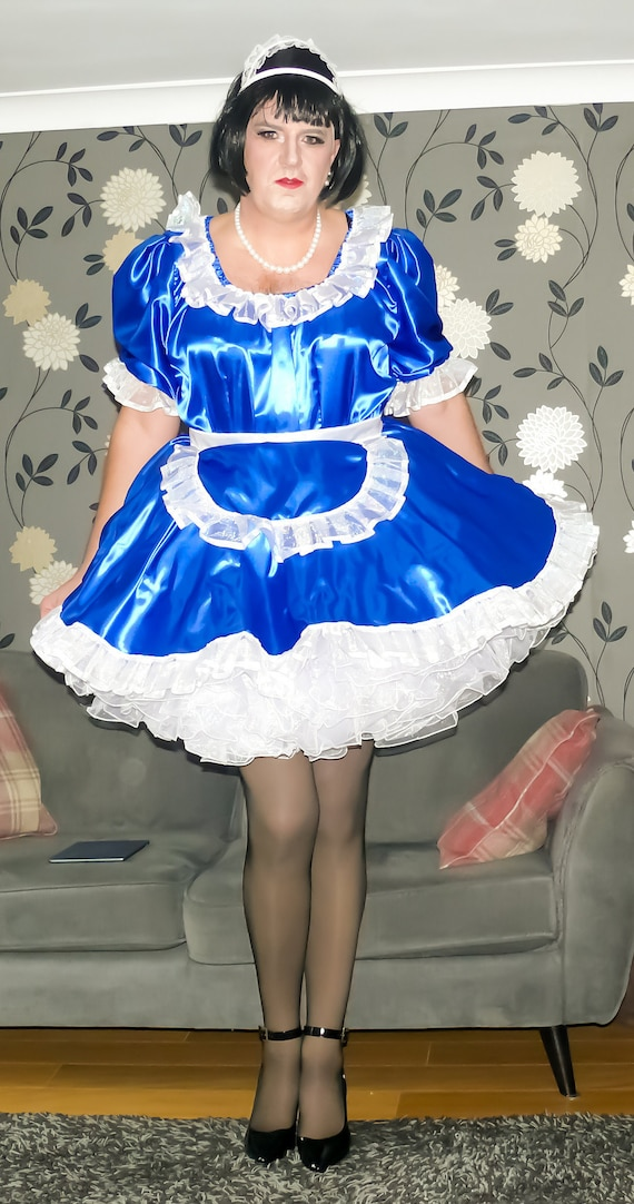 Stunning Royal Blue Lockable Satin and Organza French Maid Uniform - Not a fancy dress costume t9cHIrx