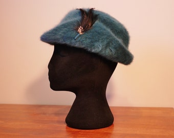 bd9f5fba88b Vintage Teal Kangol Made in England Angora Hat