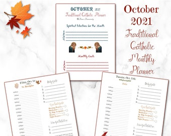 October 2021~Printable Traditional Catholic Daily Planner~Includes Meal Menu/Homeschool Page~Daily Gratitude/Spiritual Checklist/Daily Goals