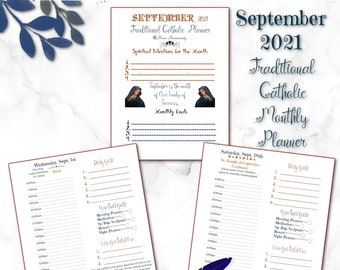 September 2021~Printable Traditional Catholic Daily Planner~Meal Menu/Homeschool Page~Daily Gratitude/Spiritual Checklist/Daily Goals