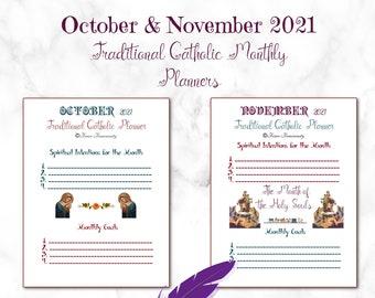 October & November 2021! Printable Traditional Catholic Planner~Meal Menu/Homeschool Page~Daily Gratitude/Spiritual Checklist/Daily Goals