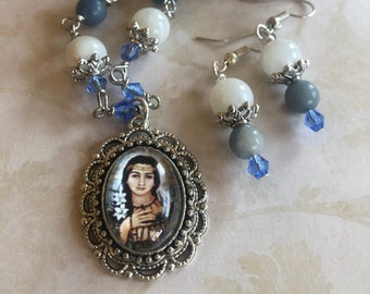 Saint Kateri Tekakwitha Graceful Religious Pendant and Earring Set...Wire-Wrapped, Handcrafted