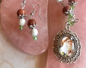 Saint Catherine of Siena Graceful Religious Pendant and Earring Set...Wire-Wrapped, Handcrafted
