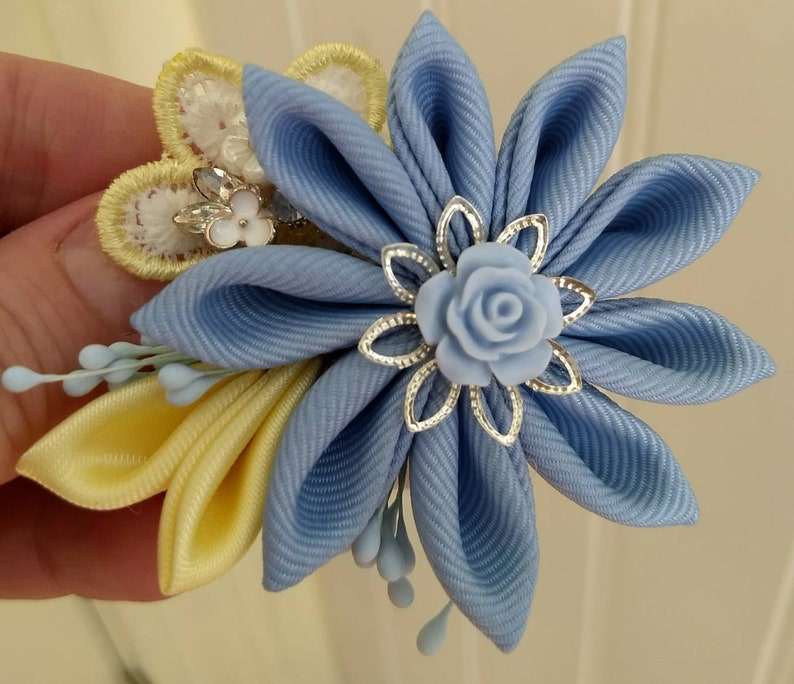 Intricate and Classy Hand-Crafted Kanzashi Accessory Flower image 0