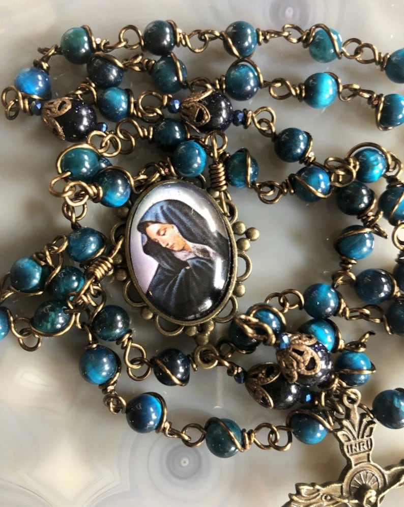Beautiful Blessed Mother Wire Wrapped Rosary Lovely image 0