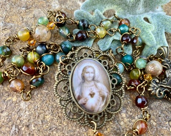 Beautiful Sacred Heart Wire Wrapped Rosary! Lovely, Durable...