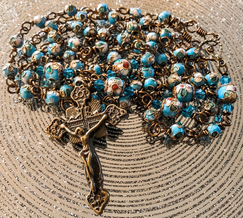 Beautiful Vintaj Wire Wrapped Blue Cloisonné Rosary Lovely image 0