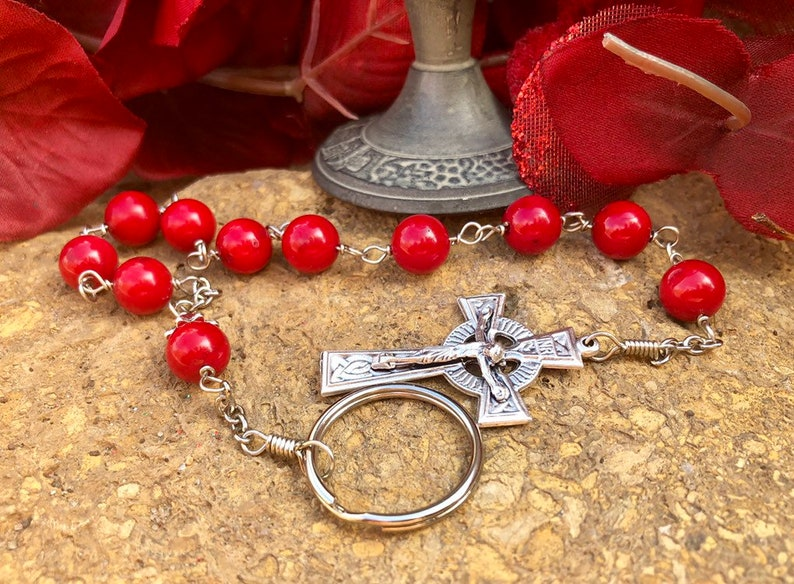 Red Penal Rosary Wire Wrapped image 0