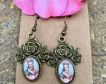 Blessed Mother Graceful Religious Earring Set...Handcrafted