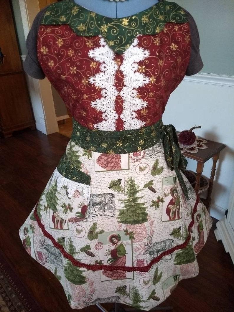 Victorian Christmas Apron Feminine and Beautiful image 0