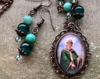 Saint Patrick Graceful Religious Pendant and Earring Set...Wire-Wrapped, Handcrafted