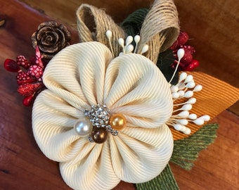 Intricate and Classy Hand-Crafted Kanzashi Accessory Flower for Your Hair, Scarf, Shirt etc....