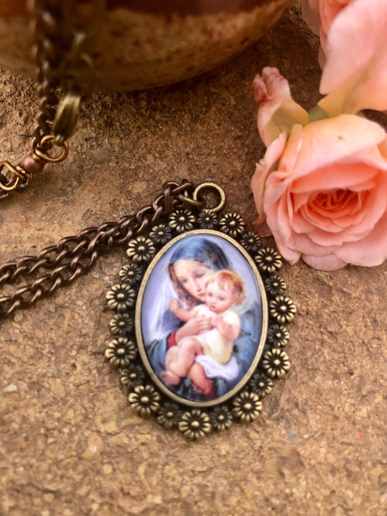 Blessed Mother Graceful Cabochon Pendant image 0