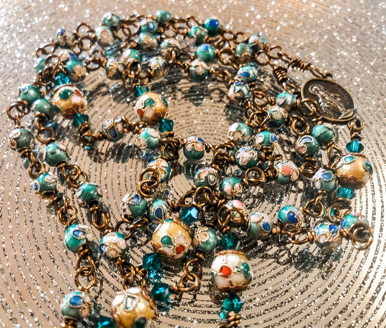 Beautiful Vintaj Wire Wrapped Green Cloisonné Rosary Lovely image 0