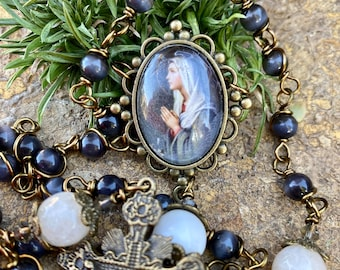 Beautiful Blessed Mother Wire Wrapped Rosary! Lovely, Durable...