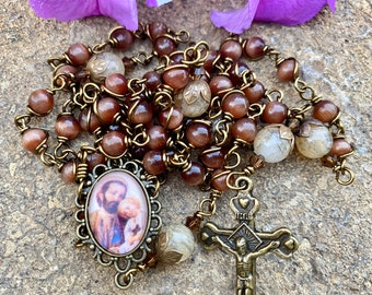 St. Joseph Wire Wrapped Rosary! Lovely, Durable...