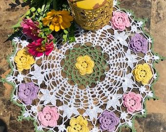 Rosie's Posies Elegant Hand-Crocheted Doily