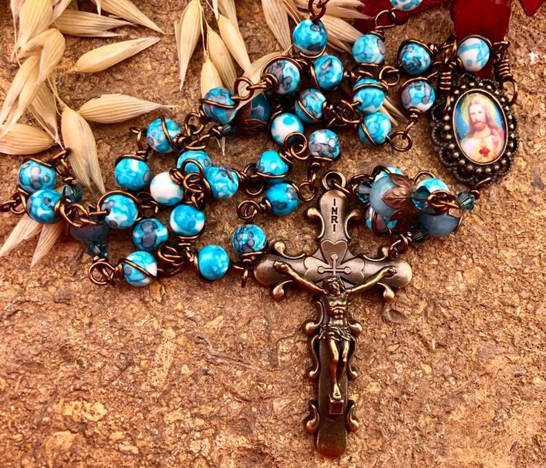 Beautiful Vintaj Brass Sacred Heart Wire Wrapped Rosary image 0