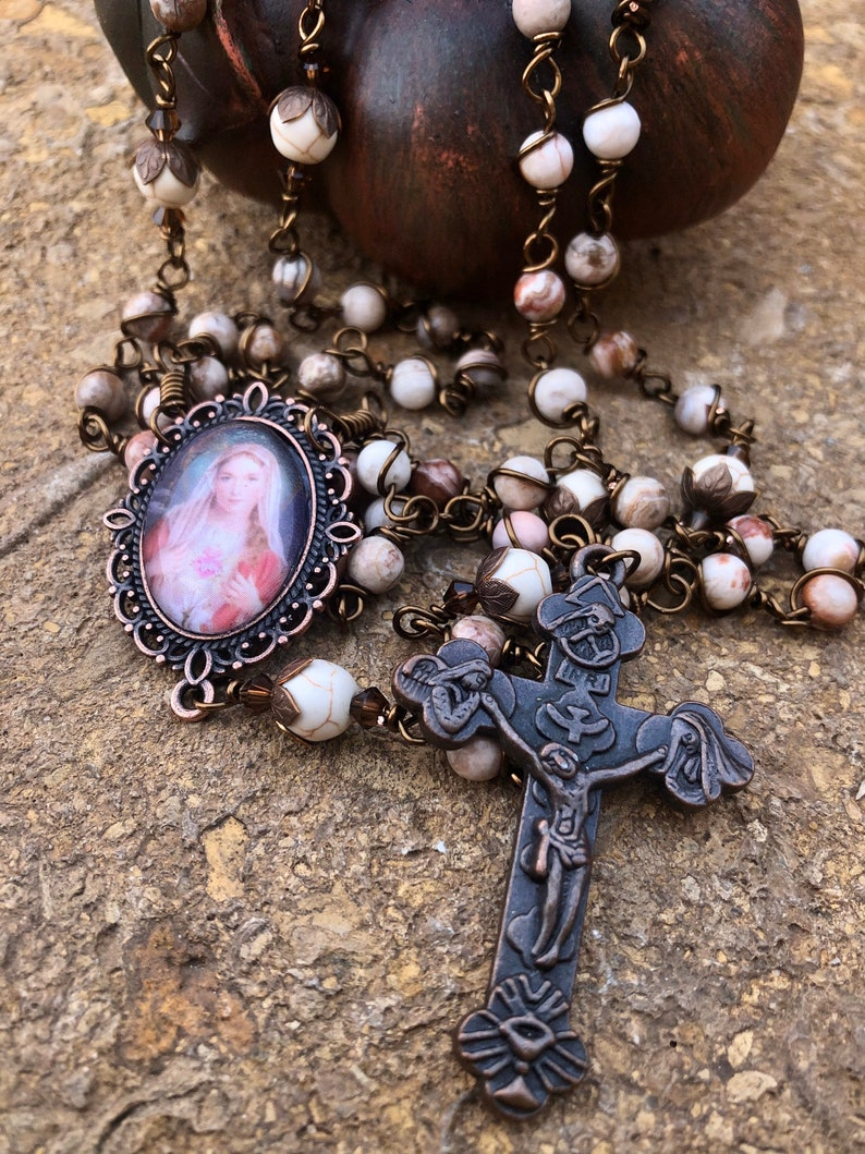 Beautiful Vintaj Wire Wrapped Rosary Lovely Durable... image 0