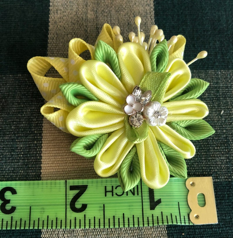 Intricate and Classy Hand-Crafted Kanzashi Accessory Flower for Your Hair Shirt etc... about 3 in across Scarf