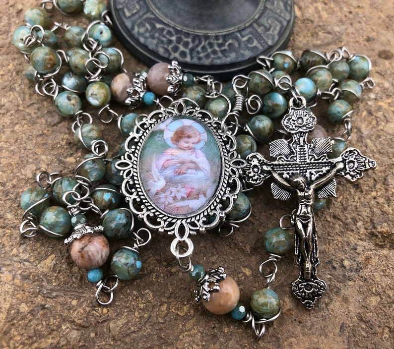 Infant Jesus Wire-Wrapped Rosary Handcrafted image 0