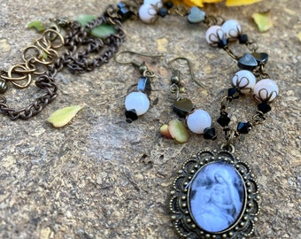 Blessed Mother Graceful Religious Pendant and Earring Set...Wire-Wrapped, Handcrafted