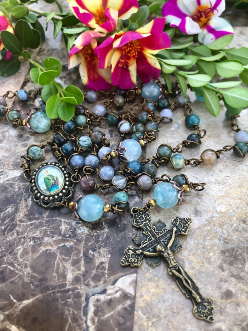 Beautiful Vintaj St. Patrick Wire Wrapped Rosary Lovely image 0