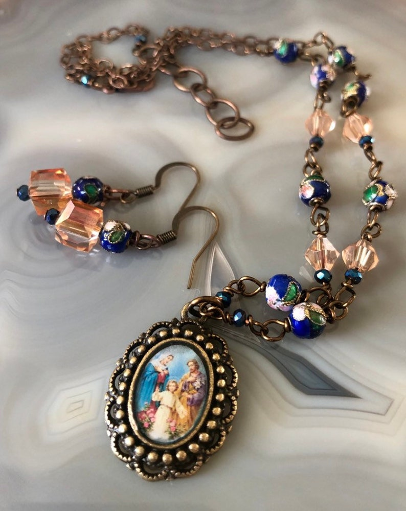 Holy Family Graceful Religious Pendant and Earring image 0