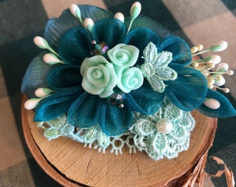 Intricate and Classy Hand-Crafted Kanzashi Accessory Flower for Your Hair, Scarf, Shirt etc.... about 3 in across