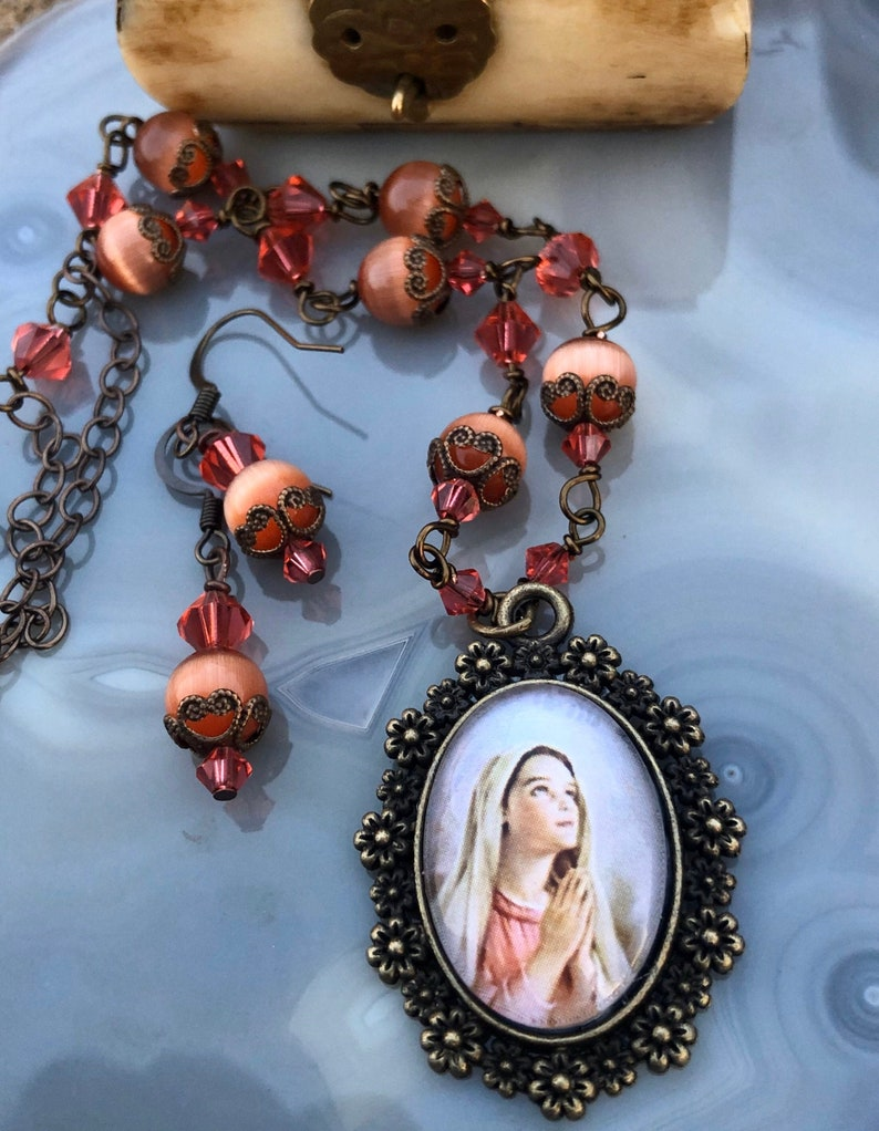 Young Blessed Mother Graceful Religious Pendant and Earring image 0