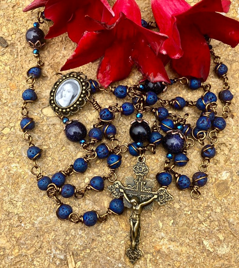 Blessed Mother Lava Bead Wire Wrapped Rosary Lovely image 0