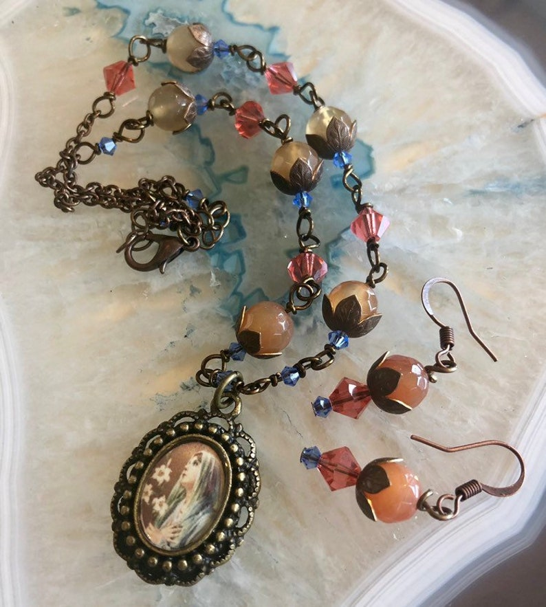 Blessed Mother Graceful Religious Pendant and Earring image 0