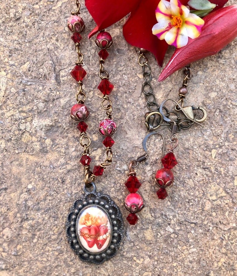 Sacred Heart Graceful Religious Pendant and Earring image 0